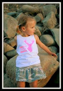 GIRLS LITTLE HUNTER TROPHY STAG SHORT SLEEVED TEE, LONG SLEEVED TEE OR SINGLET