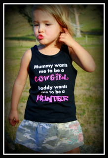 GIRLS COWGIRL OR HUNTER? SHORT SLEEVED TEE, LONG SLEEVED TEE OR SINGLET