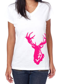 TROPHY STAG V-NECK WOMEN'S TEE OR SINGLET