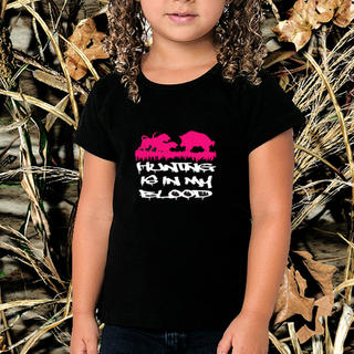GIRLS HUNTING IS IN MY BLOOD BOAR HUNTING SHORT SLEEVED TEE, LONG SLEEVED TEE OR SINGLET