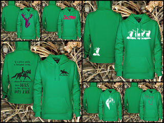 SPECIAL!!!!!! $49.99 WOMEN'S EMERALD GREEN PREMIUM PULLOVER HOODIE WITH YOUR CHOICE OF DESIGN!!!