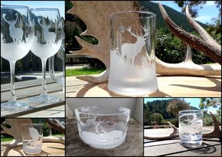 HAND ETCHED / ENGRAVED GLASSESWARE