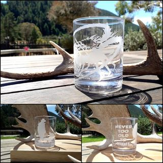 PERSONALISED HAND ETCHED GLASS TUMBLERS ~ HEAPS OF DESIGNS TO CHOOSE FROM! $25