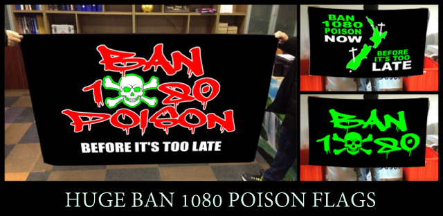 HUGE 150 x 90 cm ANTI 1080 POISON FLAGS - SEVEN DIFFERENT DESIGNS TO CHOOSE FROM - $25 EA