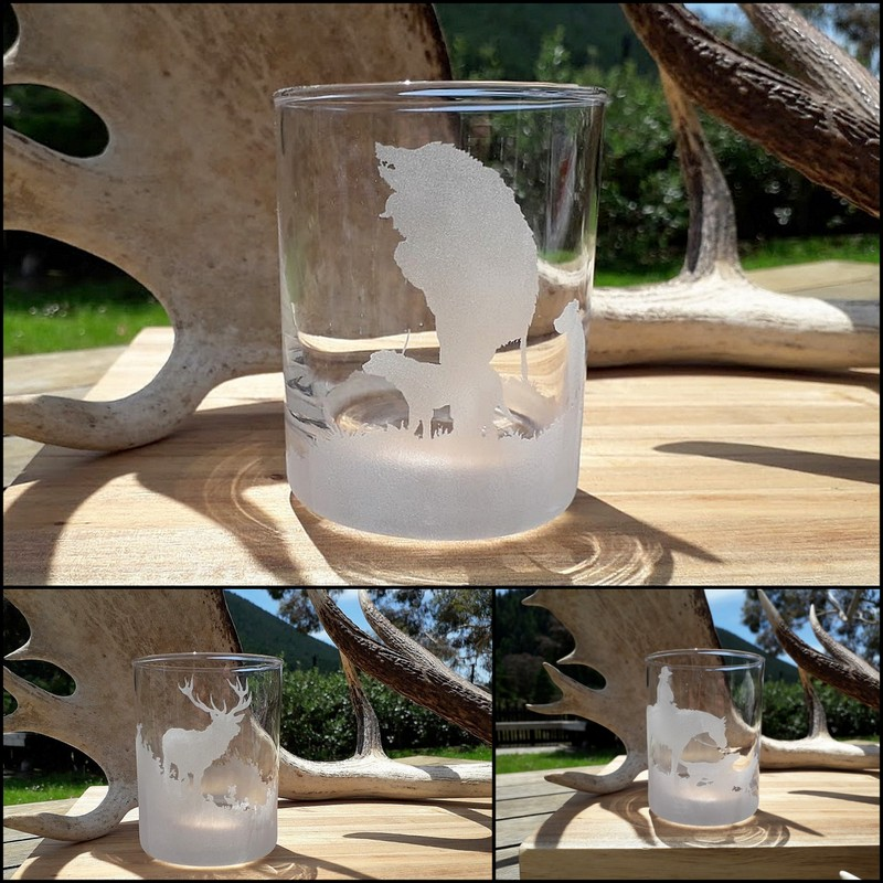 HAND ETCHED GLASS TUMBLERS ~ HEAPS OF DESIGNS TO CHOOSE FROM!